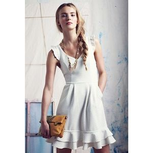 {Antho} Maeve White Stripe Ruffled Sunland Dress